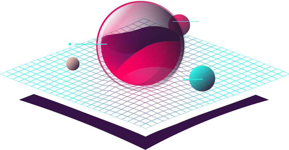 Orb planet with ground mesh illustration/